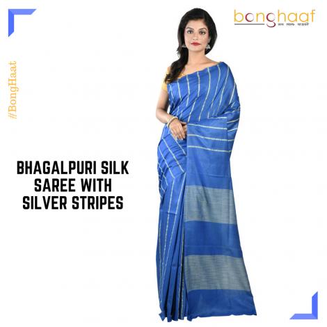 Bhagalpuri Silk Saree in Blue with Silver Stripes