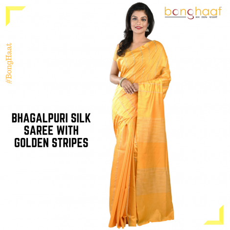 Bhagalpuri Silk Saree in Yellow with Gold stripes