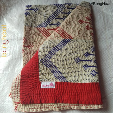 Hand woven Pure Cotton Kantha for Babies (Blue RED)