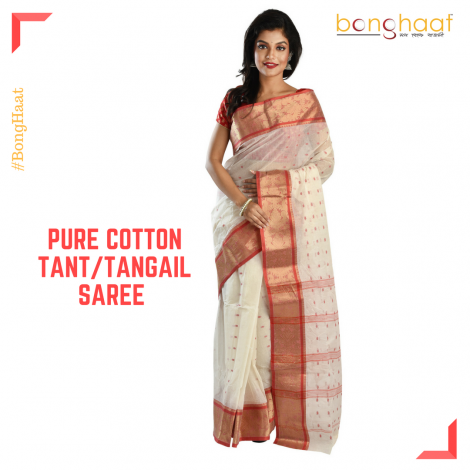 Pure Cotton Tant/Tangail Saree in White with Thick  Border with Gold Zari