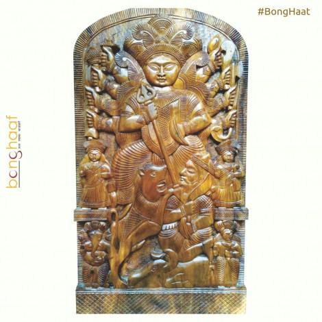 Wooden Ma Durga Family (60 CM X 40 CM X 5 CM)
