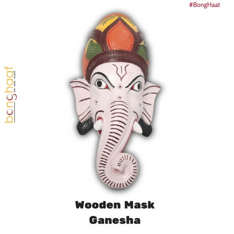Hand Crafted Wooden Mask - Ganesha