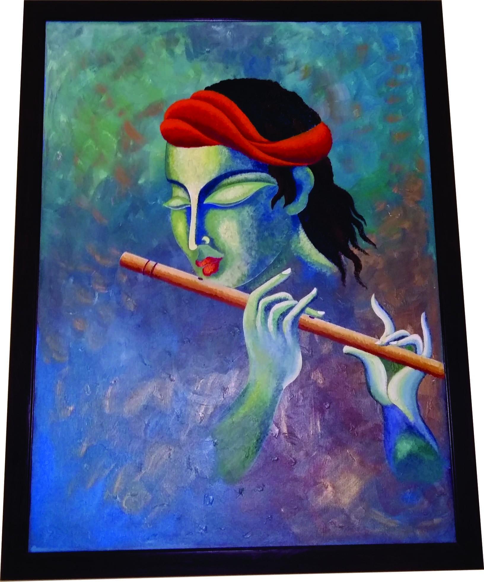 buy lord krishna hand painted art  krishna modern art  bonghaatcom - lord krishna hand painted art
