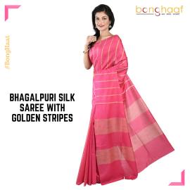 Bhagalpuri Silk Saree in Pink with  Golden stripes