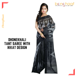 Pure Cotton Dhonekhali Tant saree with Ikkat design in Black