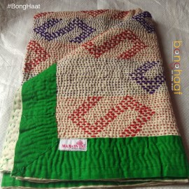 Hand woven Pure Cotton Kantha for Babies (Blue & Green)