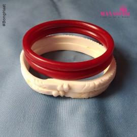 Manasvini Sankha Pola (Dark Red) Combo (2.4 CM)