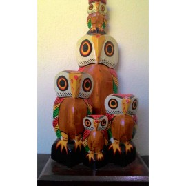 Wooden Owl Family Lampstand (1 FT X 1/2 FT X 1/2 FT)