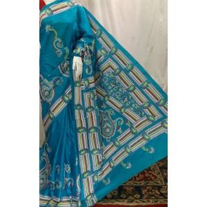 Vintage Kantha work Bangalore Silk Sarees