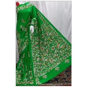 Vintage Kantha work Bangalore Silk Sarees (Parrot Green)