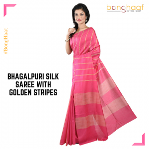 Bhagalpuri Silk Saree in Pink with  Golden stripes