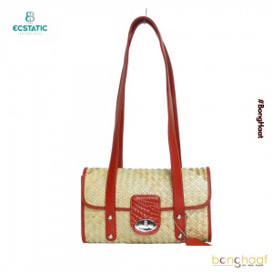 Ecstatic Leather with Sitalpati hand Bags with handle (Red)