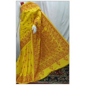 Hand Embroidery Kantha Silk Saree