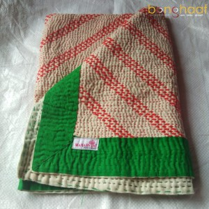 Hand woven Pure Cotton Kantha for Babies (Orange Green)