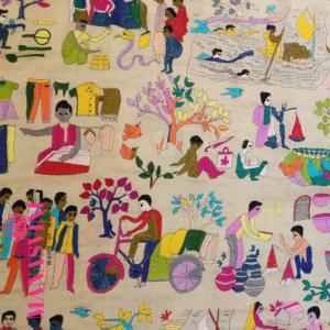 Hand woven Village Theme Kantha Stitched Dupatta