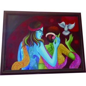 Radha Krishna Love Hand Painted Art