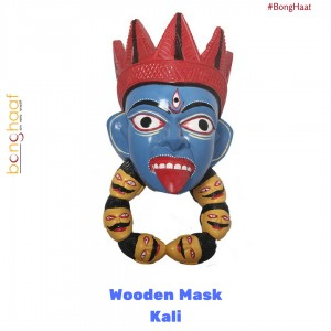 Hand Crafted Wooden Mask – Kali (Blue)