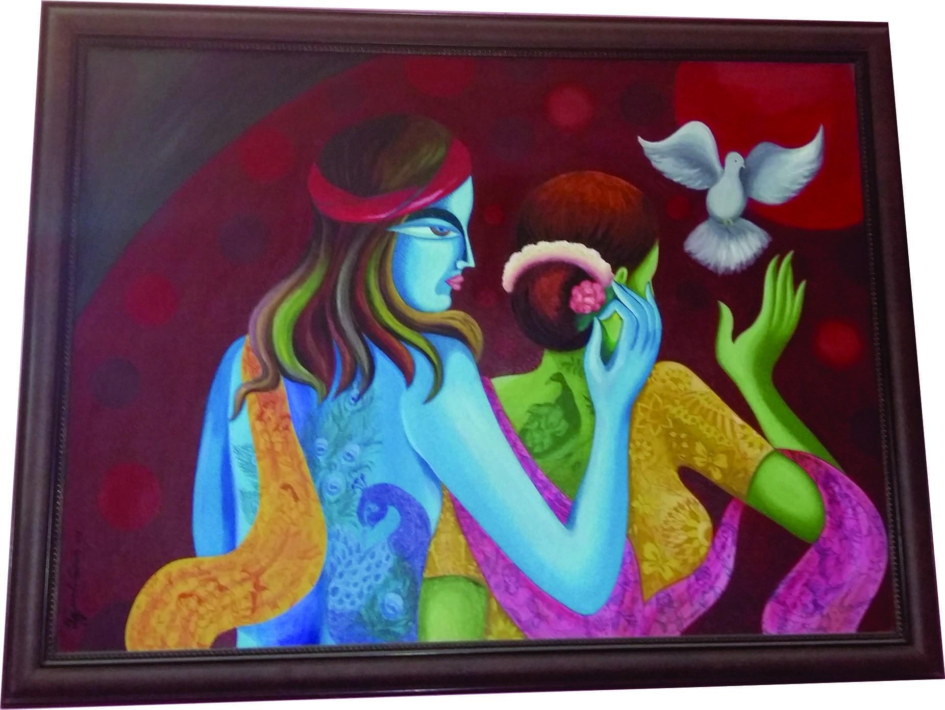 Buy Radha Krishna Hand Painted Art   Radha Krishna Modern ...